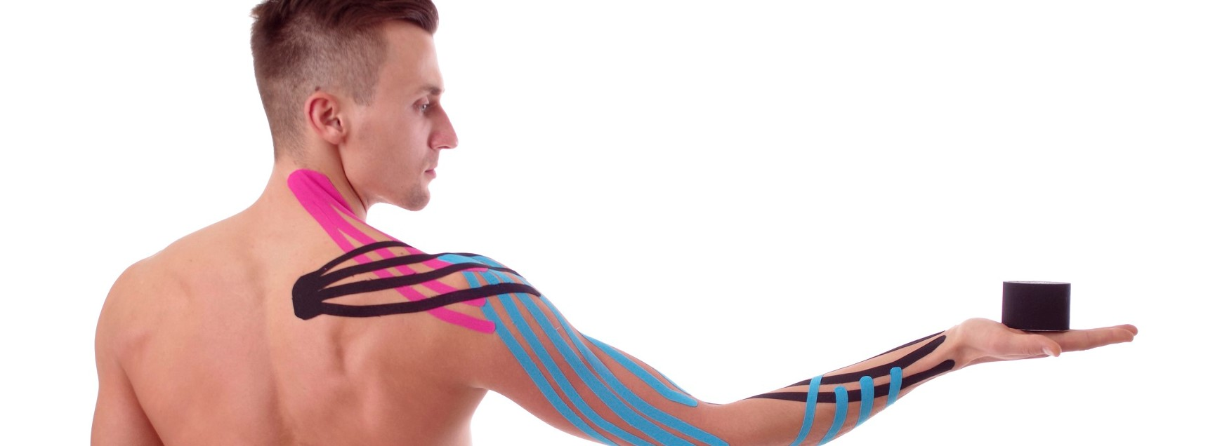 Kinesiology tape on taped arm